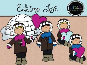 Eskimo Love - Digital Clipart