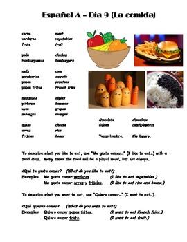 Espanol A y B Dia 9 La comida WS