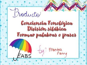 Español formar palabras, lecto-escritura conciencia fonoló