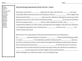Esperanza Rising comprehension CLOZE - fill in the blank
