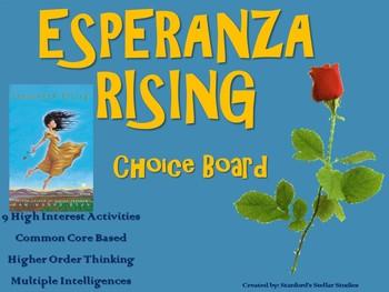 Esperanza Rising Choice Board Tic Tac Toe Novel Activities