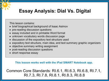 Essay Analysis Dial Vs Digital SMART (iPad compatible) Les