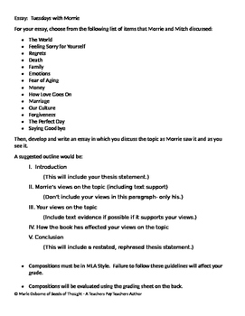 Essay: Assignment Sheet and Grading Rubric - Tuesdays With Morrie