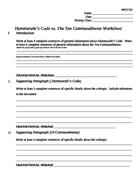 Essay Outline Comparing Hammurabi's Code to the Ten Commandments