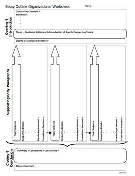 Essay Outline Organizational Worksheet