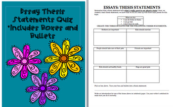 Essay Thesis Statements Quiz