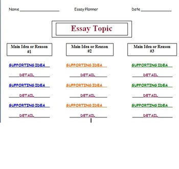 Essay and paragraph organizers