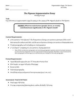 Essay prompt for The Pigman with rubric, outline, and modi