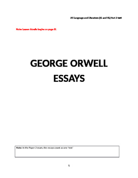 Essays by George Orwell_ lesson bundle and essay pack