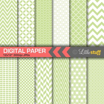Essential Digital Paper Patterns - French Green and White
