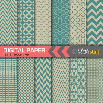 Essential Digital Paper Patterns - Peacock Blue and Taupe