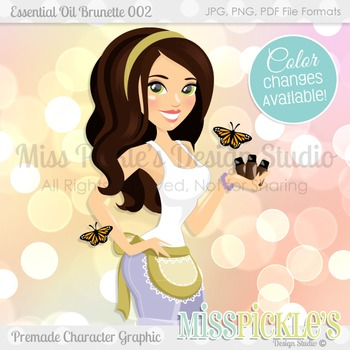 Essential Oil Brunette 002- Commercial Use Character Graphic