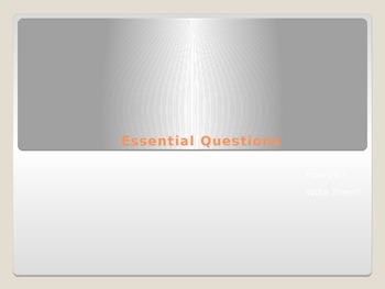 """Essential Questions and """"I Can"""" statements PPT"""