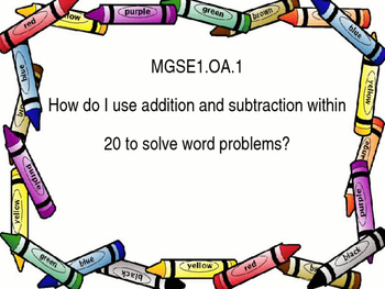 Essential Questions for GSE 1st grade math with crayon border.