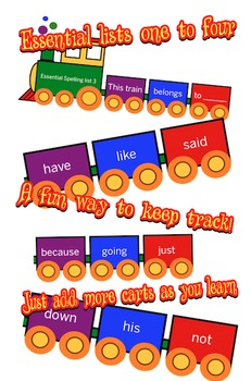 Essential Spelling Words Train - AGE 5-8 years 1-3, lists