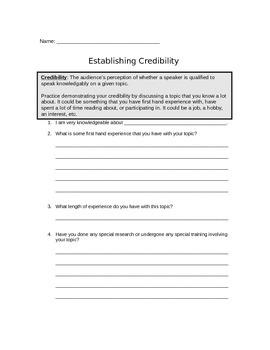 FREE Establishing Credibility Worksheet