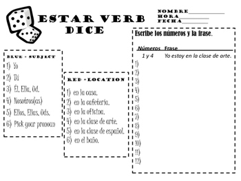 Estar Verb Dice Activity