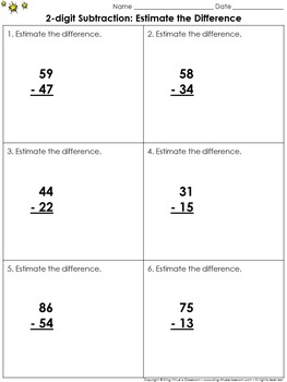 Estimate the Difference: 2-digit Subtraction Practice Shee