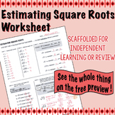 Estimating Square Root Scaffolded Worksheet with Answers