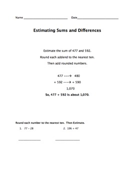 Estimating Sums and Differences Assessment