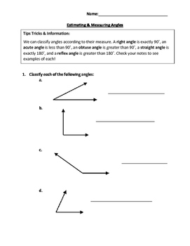 Estimating and Measuring Angles Practice