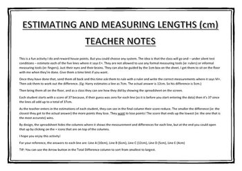 Estimating and Measuring Length (cm)