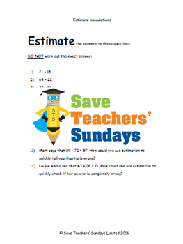 Estimating calculations lesson plans and worksheets (3 lev