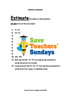 Estimating calculations worksheets (3 levels of difficulty)