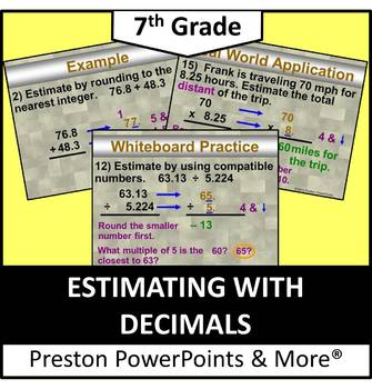 (7th) Estimating with Decimals in a PowerPoint Presentation