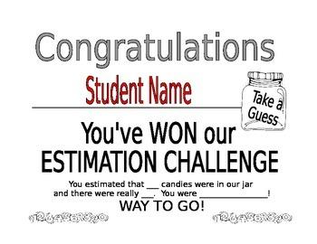 Estimation Certificate