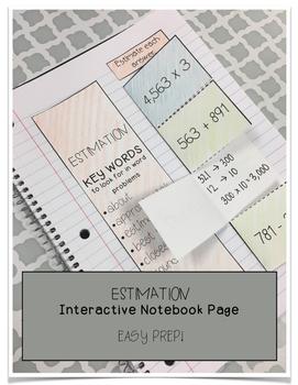 Estimation Interactive Notebook Page