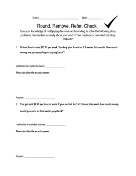 Estimation, Rounding, and Multiplying Decimals FREE Worksheet