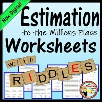 Estimation Worksheets w/ Riddles!  Grades 4-5