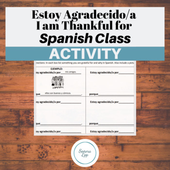 Estoy Agradecido I'm Thankful for Spanish Worksheet Thanks
