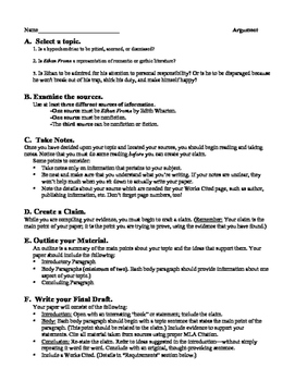 Ethan Frome: Argument Essay & Rubric
