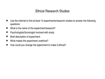 Ethical Research Studies (Middle & High School)