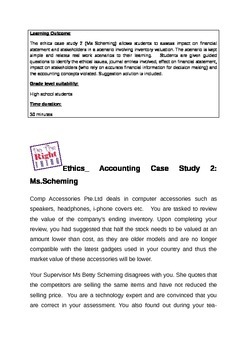 Ethics Accounitng Case Study Inventory Net Realisable Value