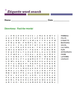 Etiquette word search