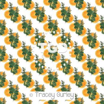 Eucalyptus Orange on White digital paper Printable Tracey