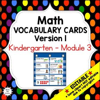 Eureka Math / Engage NY - Vocabulary Kindergarten Module 3