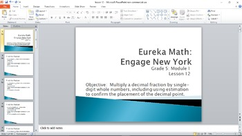 Eureka Math/Engage New York Module 1 Lesson 12 PowerPoint Grade 5