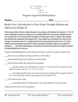 Eureka Math First Grade Module 2 Parent Progress Letter