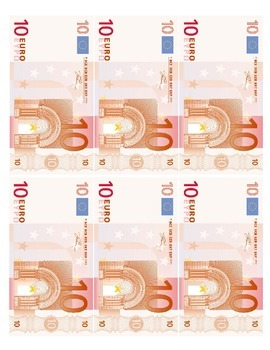 Euro Play Money Sheets Games/Participation (Italian, Frenc