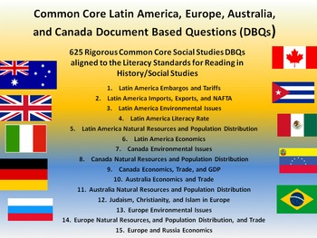 Europe, Australia, Latin America, and Canada - 625 Documen