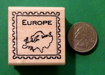 EUROPE Continent/Passort Rubber Stamp