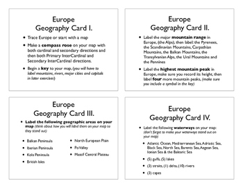 Europe Geography Command Cards
