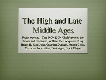 Europe - High Late Middle Ages PowerPoint