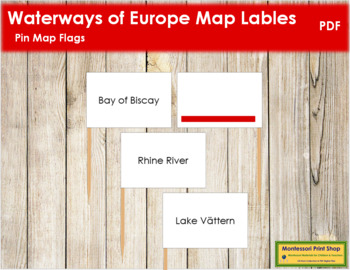Europe Waterways Map Labels - Pin Map Flags (color-coded)