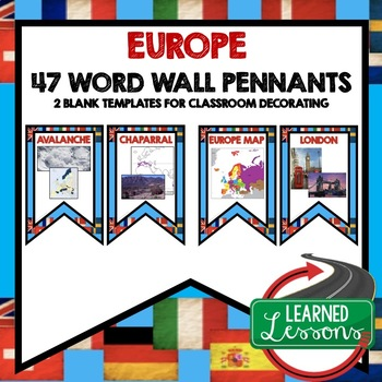 Europe Word Wall Pennants (World Geography)