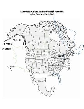 European Colonization Map (4.8:  English, Dutch, French, S